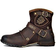Botas para Moto Botines Hombre Invierno Zapatos Nieve Piel Forradas Calientes Planas Combate Militares Martin Boots