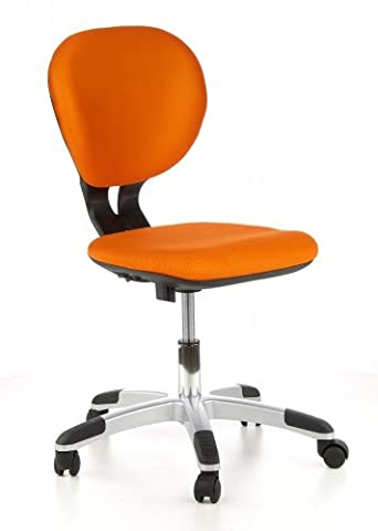hjh OFFICE, 670240, Childrens Desk Chair, swivel chair, computer chair kids room, BILLY KID, Orange, mesh fabric, for children, ergonomic back, height adjustable, office task study chair, home stool, armless, with soft-bottom rollers, stylish synthetic foot base