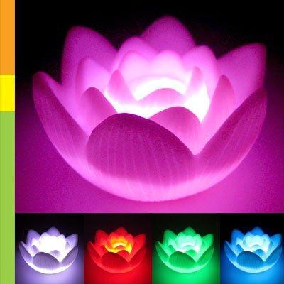 Luce notturna - SODIAL(R) Cambiare colore fiore di loto LED amore romantico della lampada di umore della luce di notte bomboniera Decoration