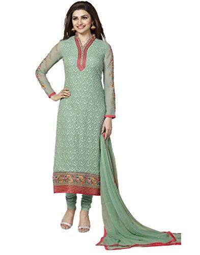 VinayTM Prachi Desai Party Wear Formal Wear Suit Embroidered Georgette Firozi Semistitched Salwar Kameez Dupatta