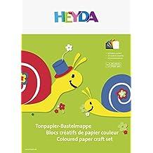 25 cm x 35 cm, 10 Farben, VE=20 Mappen sortiert Heyda 204773206 Tonpapier-Bastelmappe