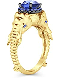 Silvernshine Halo Round Cut Sim Tanzanite CZ Diamond 14K Yellow Gold Plated Elephant Fashion Ring