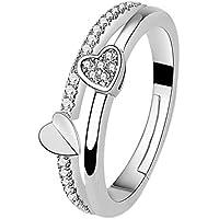 Fansi Anillo para mujer, elegante, con cristales abiertos, se puede ajustar, diseño de corazón, joyería, accesorios, regalo de cumpleaños