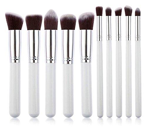 (Xiaoyu 10PCS Make-up Pinsel Premium Make-up Pinsel Set, Make-up Pinsel Set Kosmetik Stiftung Blending Eyeliner Gesicht Pulver Lippen Pinsel Make-up Pinsel Kit, Silber & Weiß)