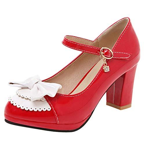 s Kleid Schuhe für Frauen - Komfortable Knöchelriemen Pumps Round Toe Damen Mary Jane Schuhe ()