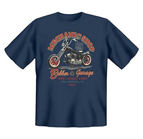 Biker & Motorrad T-Shirt geil bedruckt / Mechanic Shop ! Steelblue