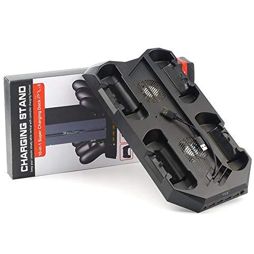 Mouchao Soporte de Cargador 10 en 1 Ps4 con 4 Soportes de Controlador 4 concentradores y 2 Ventiladores