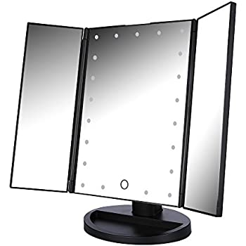 Easehold Tri Fold Makeup Mirror With Lights 21pcs Led