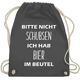 Turnbeutel - Bitte nicht schubsen ich hab Bier im Beutel - Unisize - Dunkelgrau - WM110 - Turnbeutel & Gym Bag