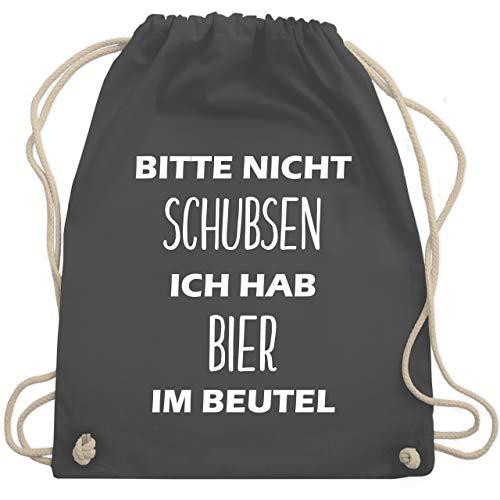 Festival Turnbeutel - Bitte nicht schubsen ich hab Bier im Beutel - Unisize - Dunkelgrau - WM110 - Turnbeutel & Gym Bag