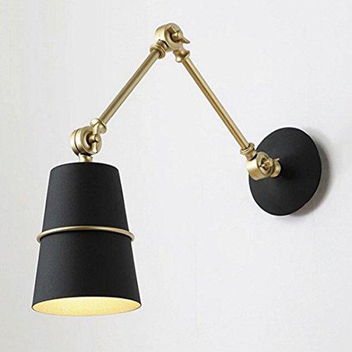 Tao-Light Vintage Wandleuchte Nordic kreative Postmodern Hotel Club einziehbare dekorative Wandleuchte, schwarz, 6,3 * 5,1 * 15,7 Zoll (D * W * H) (Farbe : SCHWARZ) -