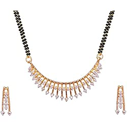 Cardinal American Diamond Latest Design Mangulsutra Pendant Necklace Set with Earring Latest Design For Women