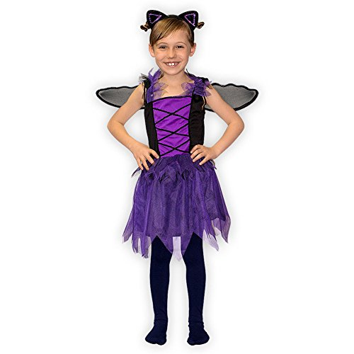 SoulCats®Kostüm Set Fledermaus für Mädchen mit Haarreifen und Flügeln Fasching Karneval, Größe:Grösse S (Niedliche Kostüme Kinder)