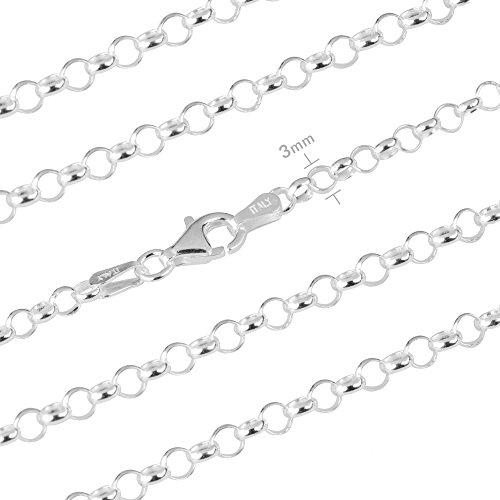 Ankerkette Silber 925, Ankerkette Damen, Modell Rolo, Ankerkette schmuck, Ankerkette halskette , Sie können es allein oder mit einem Anhänger nehmen.