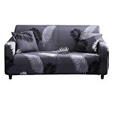 Hotniu Printed Sofa Slipcover for 3 Seater Couch - Spandex Stretch Fit with Elastic Strap Sofa Cover - 1-Piece Anti- Slip Wrinkle Resistant Couch Cover (Black Grey Feather, 3 Seater)