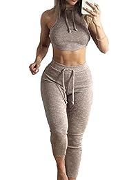 Conjunto de Ropa de Mujer Deportivos 2 Piezas Cuello Redondo Deporte Trajes, Sujetador Deportivo + Polainas, para Running Yoga Gymnastics Fitness, Púrpura Gris Rojo