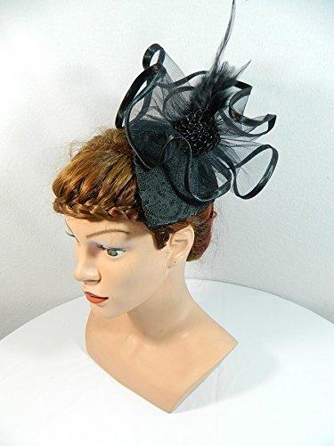 (Fascinator schwarz Gothic Teardrop Headpiece Damenhut Anlasshut Tropfenhut Hütchen Karneval)