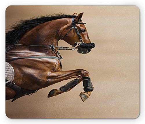 Horses Mouse Pad, Chestnut Color Horse Jumping in Hackamore Life Force Power Honor Love Sign Print, Standard Size Rectangle Non-Slip Rubber Mousepad, Brown Cream