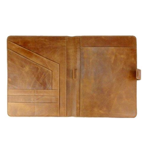 Vintage in pelle Cartella da conferenza formato A4, Organizer Documenti, Marrone, commercio equo e solidale
