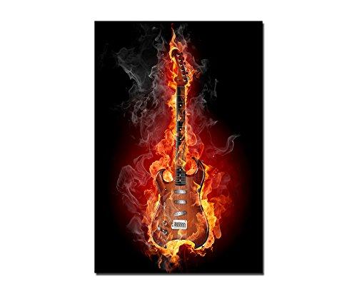 Paul Sinus Art 120x60cm - WANDBILD Gitarre Feuer Rauch Rock Musik - Leinwandbild auf Keilrahmen Modern Stilvoll - Bilder und Dekoration - E-gitarre Feuer