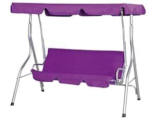 Siena Garden 733106 Anja Balancelle de Jardin Acier Argent Polyester/Revêtement PU Violet Siège Violet