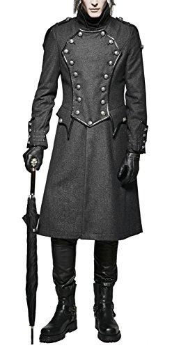 Mantel Trenchcoat Punk Rave Gothic Jacket Militärmantel Gehrock Y-704 (XXXXL)