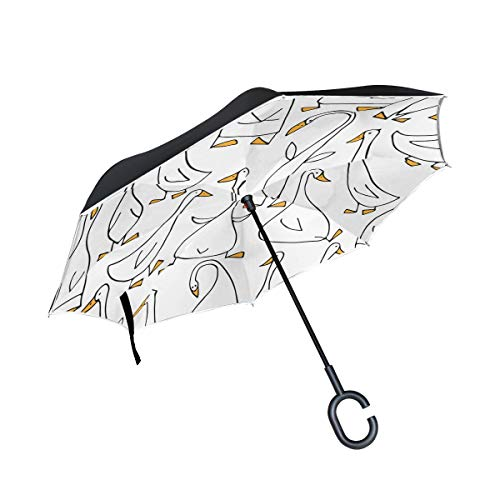 Gelbe Enten Tier Doppelschicht die Anti-Uv Schutz winddichtes Regen gerades Auto Golf umgekehrtes umgekehrtes Regenschirm Stand mit C förmigem Griff faltet Gans Stand