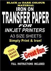 Inkjet Printable Iron On T Shirt & Fabric Transfer Paper For Dark Fabrics 10 A3 Sheets