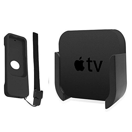 TV-Halterung für Apple TV 4. und 4. Generation der 5. Generation, Wandhalterung mit Bonus Remote CASE für Apple TV 4th / 4K 5th Gen. (Schwarz)
