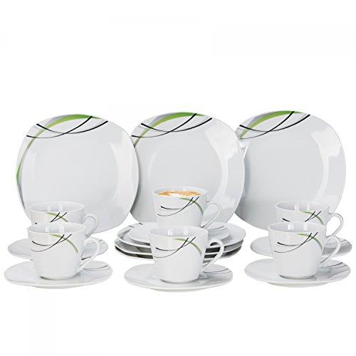Kaffeeservice Donna 18tlg. - weißes Porzellan mit Linien- Dekor in schwarz, grau und grün - für 6...