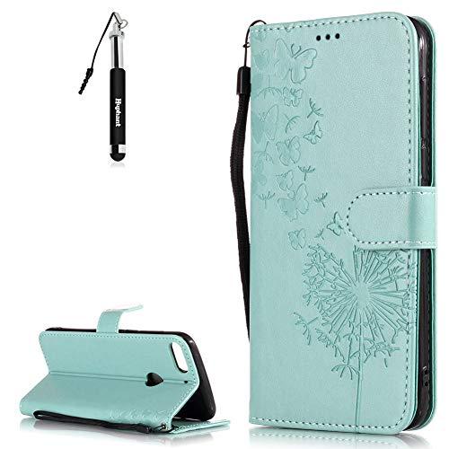 HTC Desire 12 Plus Hülle HTC Desire 12 Plus Tasche Schwarz Huphant Embossed Leder Muster Schmetterling Schutzhülle HTC Desire 12 Plus Handytasche Stand Kartenfächer Magnet Wallet Case -Grün 2