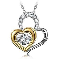Dancing Heart Estar Contigo Collar Mujer Plata 925 regalos de Navidad Decoraciones cumpleaños día de San Valentín día de la Madre Regalo para ella graduación compromiso aniversario