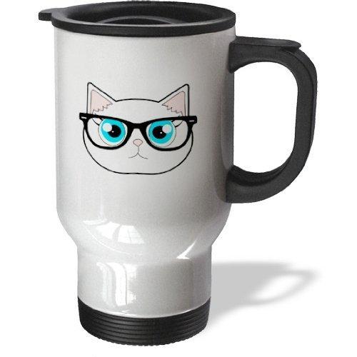 hiekon chat hipster avec verres Tasse de voyage en acier inoxydable, 14-Ounce