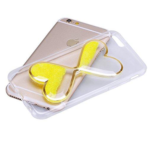 """iPhone 5s Hülle, Kristal Glitzer CLTPY iPhone SE Ultradünne Glänzend Plating TPU Handytasche mit Sparkly Bling Diamant, Weich Stoßdämpfend Silikon Schale Fall für 4.0"""" Apple iPhone 5/5s/SE + 1 x Stift Gelb"""