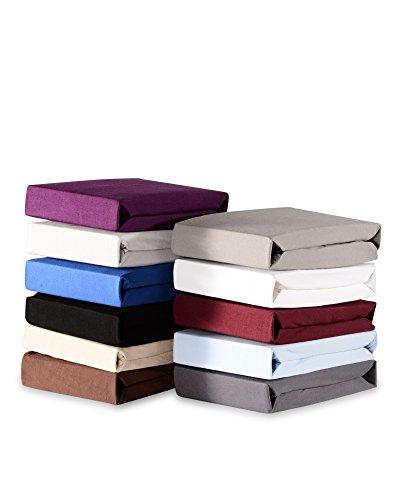 myHomery Spannbettlaken Topper Noah - Spannbetttuch Basic - Matratzenbezug für Boxspringbett-Topper - Bettlaken aus Baumwolle - Betttuch Weiß | 180/200x200cm Premium: 160g/m²