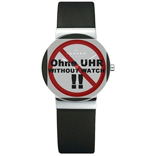Skagen Uhrband Wechselarmband LB-358LSLB Original Ersatzband 358LSLB Uhrenarmband Leder 18 mm Schwar