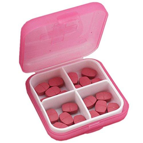 Sensail Organisateur de voyage portable Rappel de prescription et de médicament Pill Box Poche Distributeur de boîte à pilules Récipient de vis de bijoux, 4 compartiments ... (Rose)