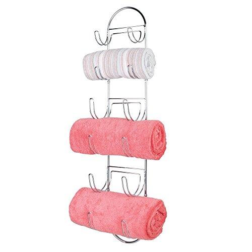 mDesign Handtuchhalter zur Wandmontage – Handtuchablage aus verchromtem Metall – schickes Badzubehör – auch für das Gäste-WC geeignet – silber