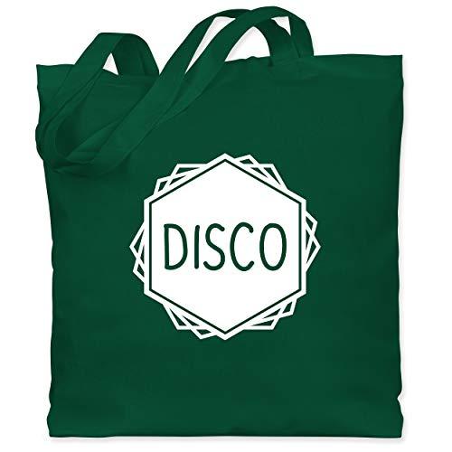 Shirtracer Festival - Disco Festival Motiv - Unisize - Dunkelgrün - WM101 - Stoffbeutel aus Baumwolle Jutebeutel lange Henkel