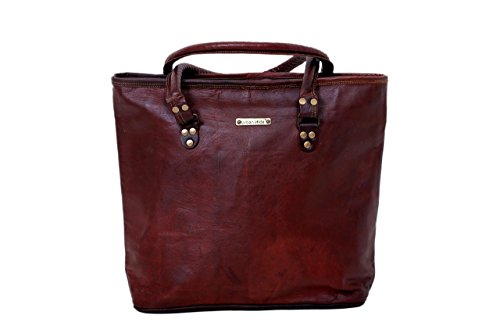 Leather Woman Tote Genuine Bag Large Ladies Carry All Bag Rustic Shopping Bag For the Women by the Women