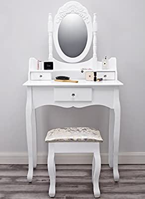 Paddington AGTC0011 Dressing Table with Stool & Mirror White Vanity produced by AGTC Ltd - quick delivery from UK.