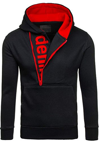 BOLF Y10 Schwarz-Rot M [1A1] Herren Kapuzenpullover Sweatshirt Hoodie Kapuze Pullover New