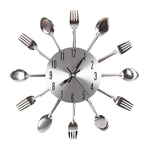 Gearmax® Nouvelle conception de mode Sliver Couverts Ustensile Horloge murale Horloge fourchette cuillère