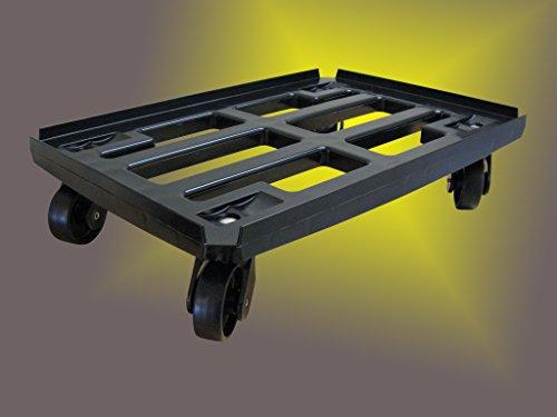 Transportroller für Boxen 600x400 mm schwarzem PP Rahmen 4x Kunststoff-Lenkrolle ø 100mm (schwarz) schwarze PP Räder -