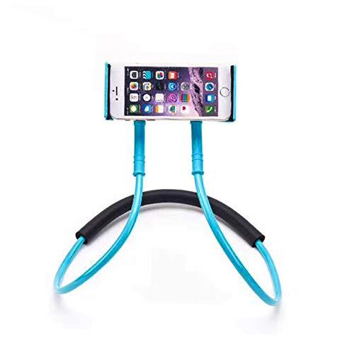 CRSM Flexible Handyhalterung Hängenden Hals Faul Halskette Halterung Smartphone Halterung Für iPhone Hirse Huawei Blau
