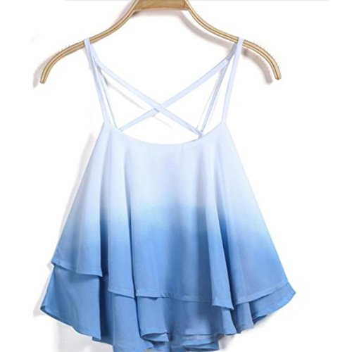 DDLBiz® Frauen Sommer Strap Floral Print Chiffon Shirt Weste (Blau) (Print Shirt Floral Cotton)