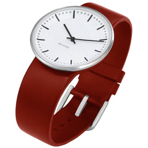 Arne-Jacobsen-City-Hall-Unisex-Watch-43464-with-Red-Calf-Skin-Strap-Small
