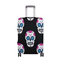 MyDaily Skull with Floral Black Luggage Cover Fits 18-32 inch Suitcase Spandex Travel Protector
