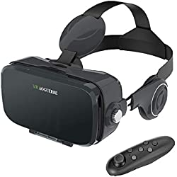 AOGUERBE VR Gafas, 3D VR Headset Auriculares de Realidad Virtual Box Virtual Glasses Controlador Bluetooth Compatible con iPhone X/8/8 Plus 7/7 Plus/6S/6 Samsung S8 / S7 & 4-6 '' Smartphones - Negro