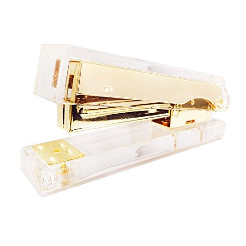 uniqooo Acryl klar gold Schreibtisch Hefter, moderne Büro Design Zubehör (Sattel Ferse)